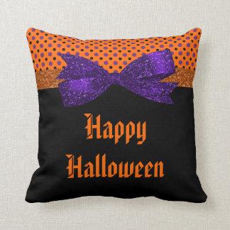 Polka Dot Orange Purple Black Halloween Throw Pillow