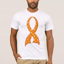 Polka Dot Orange Ribbon Kidney Cancer T-Shirt