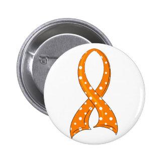 Polka Dot Orange Ribbon MS Pinback Button