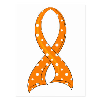 Polka Dot Orange Ribbon Multiple Sclerosis Postcard