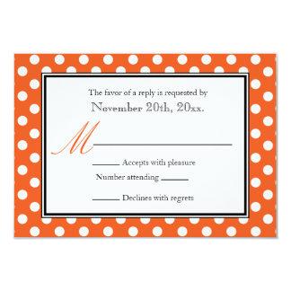 """Polka Dot Orange & White RSVP Reply Cards 3.5"""" X 5"""" Invitation Card"""