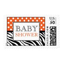 Polka Dot Orange & Zebra Print Baby Shower Postage