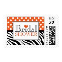 Polka Dot Orange Zebra Print Bridal Shower Postage