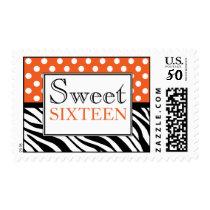 Polka Dot Orange Zebra Print Sweet Sixteen Postage