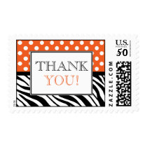 Polka Dot Orange Zebra Print Thank You Postage