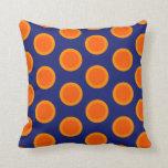 Polka dot oranges on blue pillow
