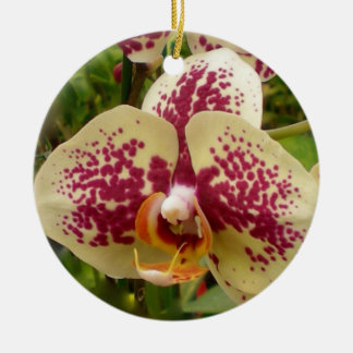 Polka Dot Orchid Ceramic Ornament