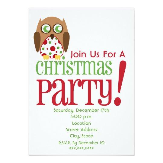 Polka Dot Owl Christmas Party Invite