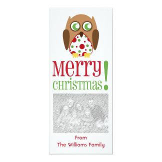 Polka Dot Owl Christmas Photo Invite Greeting