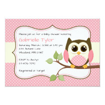 Polka Dot Owl Coral Pink Baby Shower Invitations