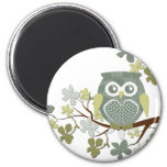 Polka Dot Owl in Tree 2 Inch Round Magnet