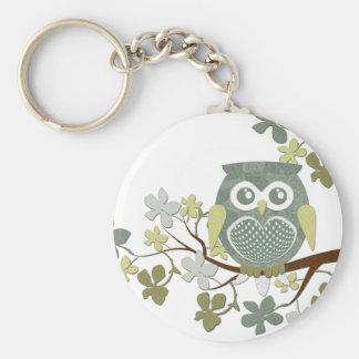 Polka Dot Owl in Tree Basic Round Button Keychain