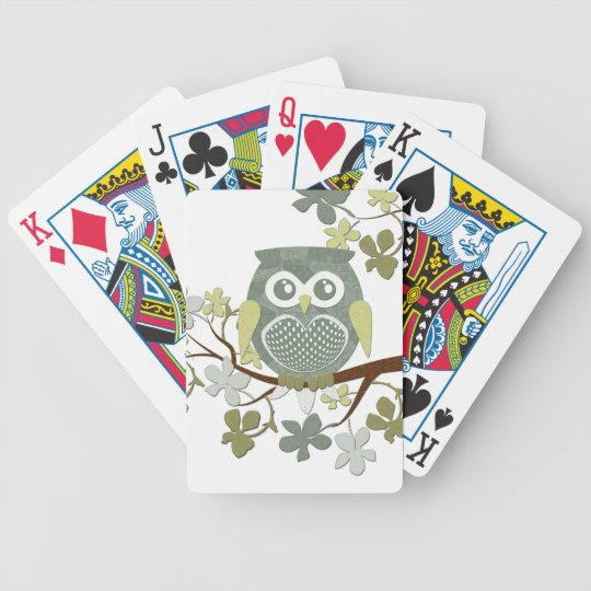 Polka Dot Owl in Tree Bicycle Playing Cards