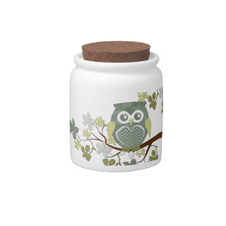 Polka Dot Owl in Tree Candy Jar