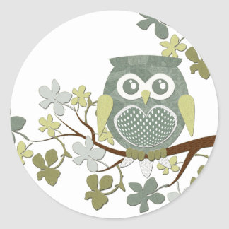 Polka Dot Owl in Tree Classic Round Sticker