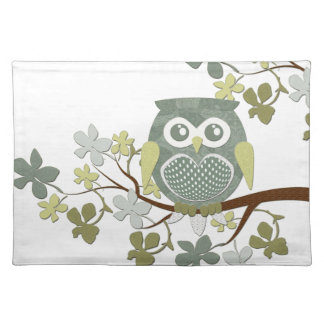 Polka Dot Owl in Tree Cloth Placemat