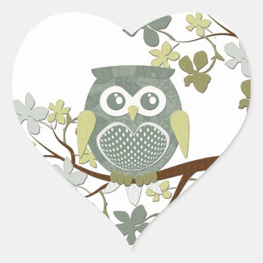 Polka Dot Owl in Tree Heart Sticker