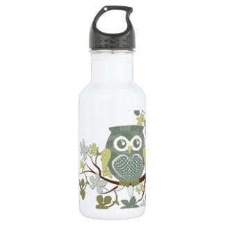 Polka Dot Owl in Tree 18oz Water Bottle