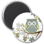 Polka Dot Owl in Tree Refrigerator Magnets
