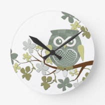 Polka Dot Owl in Tree Round Clock