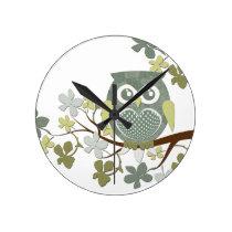 Polka Dot Owl in Tree Round Clocks