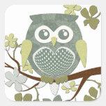 Polka Dot Owl in Tree Square Sticker