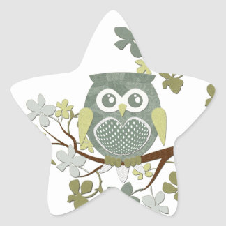 Polka Dot Owl in Tree Star Sticker