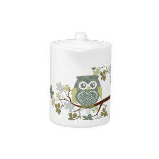 Polka Dot Owl in Tree Teapot