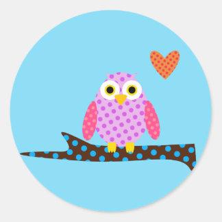 Polka Dot Owl on a Tree Branch Classic Round Sticker