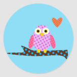 Polka Dot Owl on a Tree Branch Classic Round Sticker