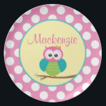 """Polka Dot Owl - Personalized Melamine Plate<br><div class=""""desc"""">Adorable Polka Dot Owl - Personalized Melamine Plate! Customize this cute plate with your child&#39;s name! Perfect for a birthday party or special personalized gift.</div>"""
