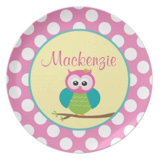 Polka Dot Owl - Personalized Melamine Plate at Zazzle