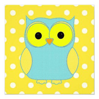 Polka Dot Owl V2 Birthday 5.25x5.25 Square Paper Invitation Card