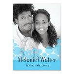 "Polka Dot Parade Photo Save the Date baby blue 5"" X 7"" Invitation Card"