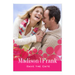 Polka Dot Parade Photo Save the Date hot pink 5x7 Paper Invitation Card