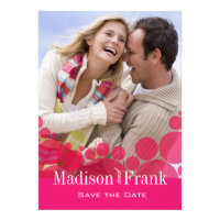 Polka Dot Parade Photo Save the Date hot pink Personalized Announcements
