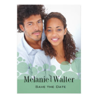 Polka Dot Parade Photo Save the Date mint Personalized Invitation