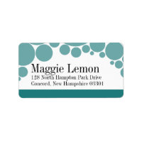 Polka Dot Parade | teal Personalized Address Label