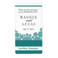 Polka Dot Parade Wine Champagne | teal Personalized Shipping Labels