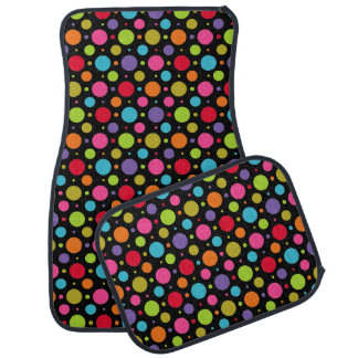 Polka Dot Party Black Car Mat Set