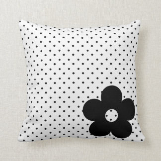 Polka Dot Party Flower in Black and White Pillow