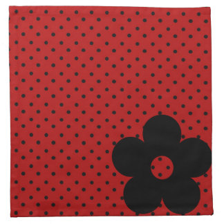 Polka Dot Party Flower in Red Printed Napkin