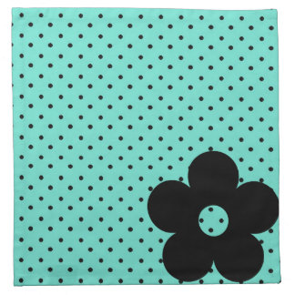 Polka Dot Party Flower in Teal Printed Napkins