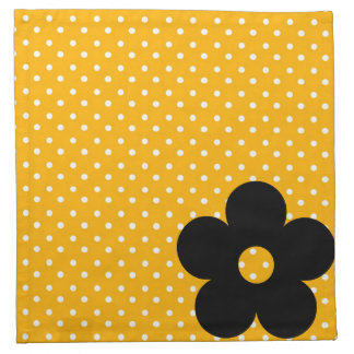 Polka Dot Party Flower in Yellow Cloth Napkins