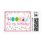 Polka Dot Party Hooray Birthday Postage Stamps