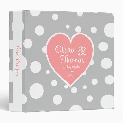 Polka Dot Pattern and Heart Pink Grey Vinyl Binder