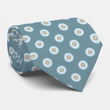 Beach Themed Polka Dot Pattern -Blue Brown Sand Beige Turquoise Tie