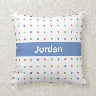 Polka Dot Pattern Custom Name on Blue Stripe Throw Pillow