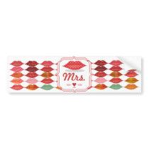 Polka Dot Pattern Lips Mrs. Hipster Vintage Bride Bumper Sticker