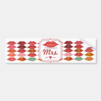 Polka Dot Pattern Lips Mrs. Hipster Vintage Bride Car Bumper Sticker